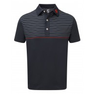 FootJoy Stretch Lisle Engineered Pinstripe Polo (Athletic Fit) Navy with White & Scarlet