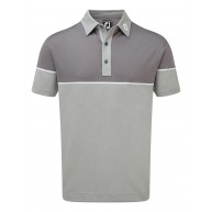 FootJoy Colour Block Stretch Pique Polo (Athletic Fit) Heather Grey with Granite & White