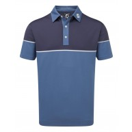 FootJoy Colour Block Stretch Pique Polo (Athletic Fit) Blue Marlin with Twilight & White