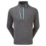 FootJoy Heather Pinstripe Chill-Out Pullover (Athletic Fit) Black with Aqua