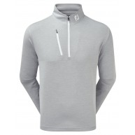 FootJoy Heather Pinstripe Chill-Out Pullover (Athletic Fit) Grey with White