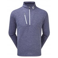 FootJoy Heather Pinstripe Chill-Out Pullover (Athletic Fit) Twilight with White