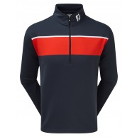 FootJoy Jersey Chest Stripe Chill-Out Pullover (Athletic Fit) Navy with Red & White