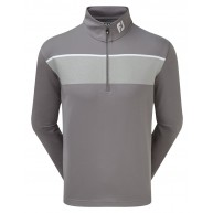 FootJoy Jersey Chest Stripe Chill-Out Pullover (Athletic Fit) Granite with Heather Grey & White