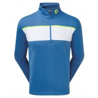 FootJoy Jersey Chest Stripe Chill-Out Pullover (Athletic Fit) Blue Marlin with White & Citrus