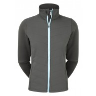 FootJoy Ladies Thermal Quilted Jacket Charcoal with Sky Blue