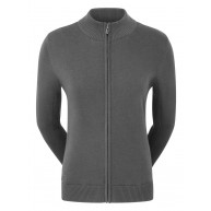 FootJoy Ladies Full-Zip Lined Wool Blend Pullover Charcoal