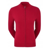 FootJoy Ladies Full-Zip Lined Wool Blend Pullover Red