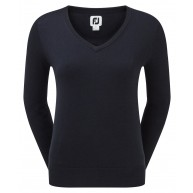 FootJoy Ladies Wool Blend V-Neck Pullover Navy