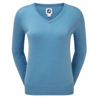 FootJoy Ladies Wool Blend V-Neck Pullover Light Blue