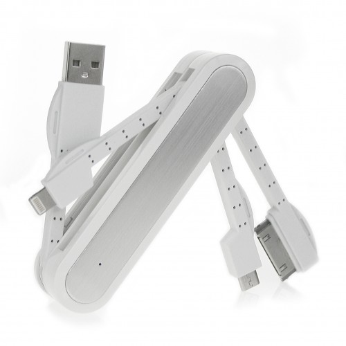 Army Knife Multifunctional USB Adapter - white -silver with white cables