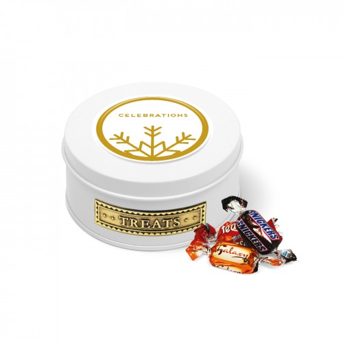 White Treat Tin Filled With Celebrations