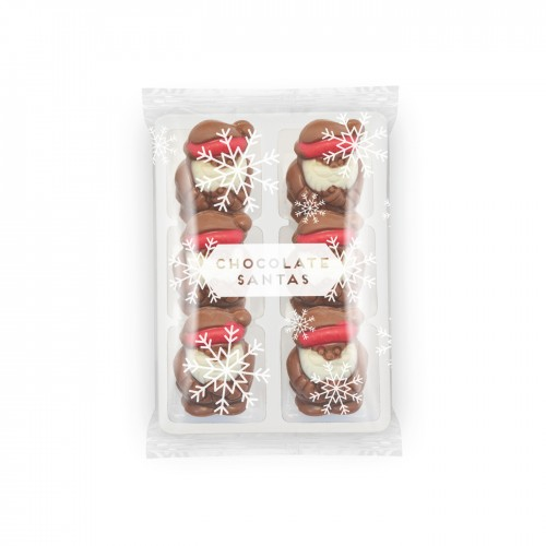 Flow Wrapped Tray - Milk Chocolate Santas