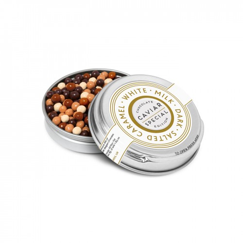 Caviar Tin - Chocolate Pearls - Silver